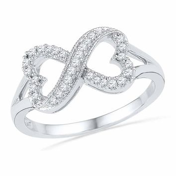 10kt White Gold Womens Round Diamond Infinity Heart Ring 1/6 Cttw