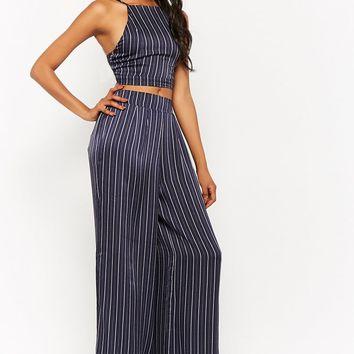 Pinstriped Crop Cami & Palazzo Pants Set