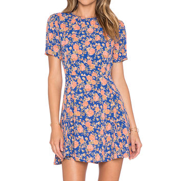 Tularosa Iris Dress in Navy & Peach Floral