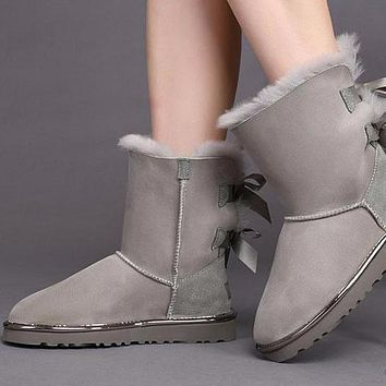 Sale Ugg 1019034 Off-white Classic Bailey Bow II Metallic Boot Snow Boots