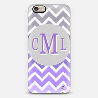 Purple White Gray Chevron Custom Slim Phone Case Initials