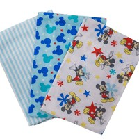Disney Mickey Mouse Cotton Receiving Blankets, Blue, 3 Piece