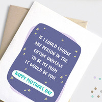 Mothers Day Card Funny - Best Mom in the Universe - Illustrated Galaxy, Stars