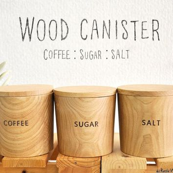 Wooden canister Coffee Sugar Salt kitchen organic ceramic container