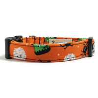Dog Collar - Halloween Collar - Halloween Monsters - Orange Dog Collar - Scary Dog Collar - Monster Dog Collar - Halloween Dog