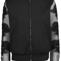 Mesh Sleeve Bomber Jacket - Black