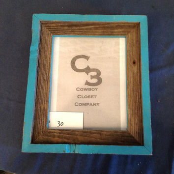 Wood & Turquoise Picture Frame
