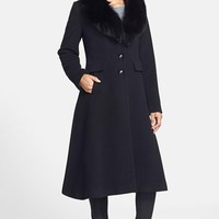 Women's George Simonton Couture Wool Blend Coat with Genuine Fox Fur Collar