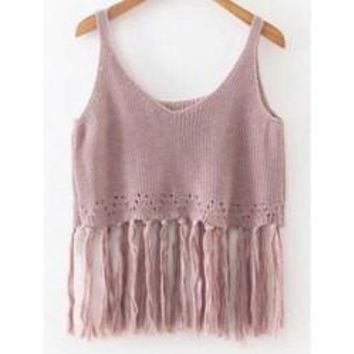 Knitted Crop Top With Tassels