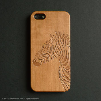 Real wood engraved zebra pattern iPhone case S025
