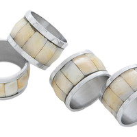 Mother-of-Pearl Napkin Rings, Set of 4, Napkin Rings & Holders