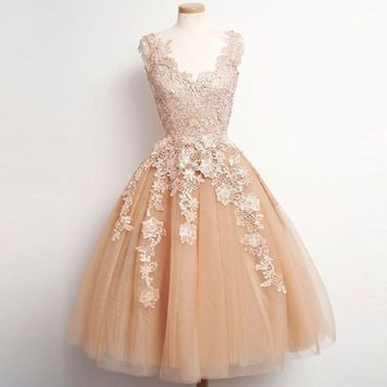Vintage V-neck Tulle and Lace Appliqued Homecoming Dresses,Ball Gown Hot 76