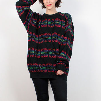 Vintage 90s Sweater Black Rainbow Knit Boyfriend Sweater 1990s Sweater Nordic Knit Stripe Oversize Sweater Soft Grunge Jumper XL Extra Large