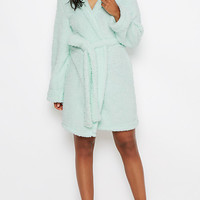 Mint Sherpa Hooded Robe