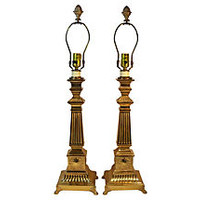 Neoclassical-Style Brass Lamps, Pair