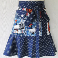 Cute Rooster Half Apron, Retro Style Apron, Blue and White Polka Dots, Patchwork Waist Apron, KitschNStyle