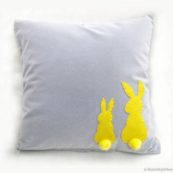 Two Little Lovely Rabbits Grey And Yellow Pillow Cover. Gray Yellow Nursery Decor. Pom Pom Appliques