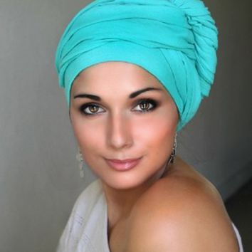 Jade Cotton Turban Head wrap, Turbans for cancer, head scarf, hats for cancer patients, alopecia, chemo hair loss.