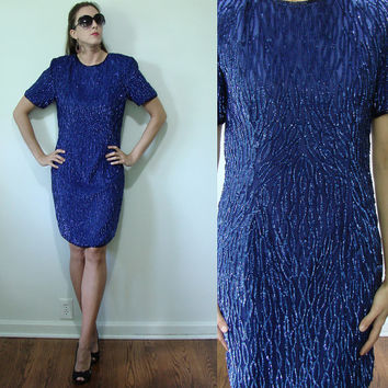 Vintage 1980s GLAM Navy Blue SEQUIN Glass Bead Silk Cocktail Dress Stenay Small