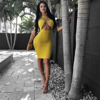 Spaghetti Straps Cross Backless Bodycon Knee-Length Dress
