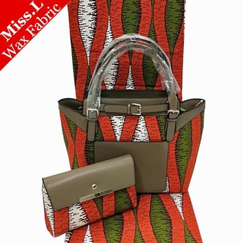 African Wax Bags Set,  Wax Prints Fabric With Leather Patchwork Handbag And 6 Yards Dutch Wax Fabric