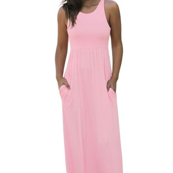 Chic Casual Pale Pink Racerback Maxi Dress with Pockets