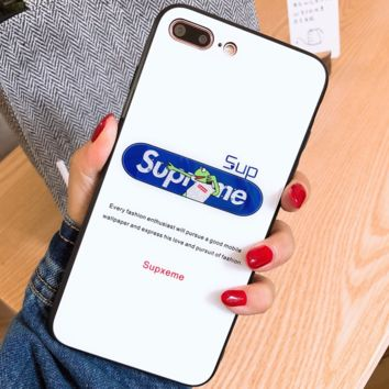 Supreme Tide brand frog personality iphonex mobile phone case glass case protective cover Blue