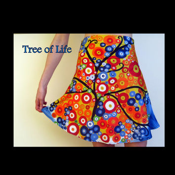tree of life skirt, colorful skirts, tree of life skirts, trees of life prints, printed tree design, tree art, bright dress, cute skirts