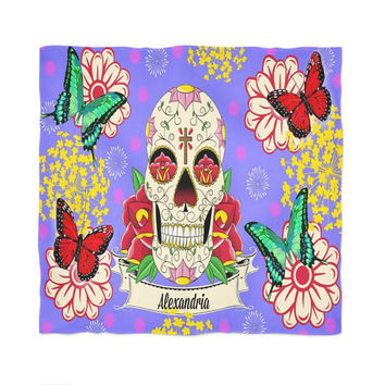 """Personalized Sugar Skull Plush Fleece Blanket-60"""" x 80""""  Skull Bedding -Throw Blanket Colorful Butterfly Floral"""