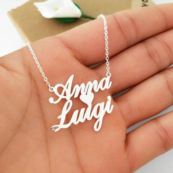 Personalized Custom Double Names Necklace Customized Love Heart Chokers Necklaces Handwriting Nameplate Couple Jewelry Gift BFF