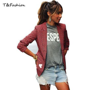 Women Blazers And Jackets New 2016 Fashion Casual Spring Jacket Plus Size Red Plaid Small Suit Blazer Women