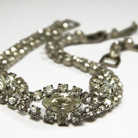 Vintage Rhinestone Link Bracelet With Clear Glass Crystals With Extender - 7 to 8.5 Inch -  Mid-Century - Vintage Jewelry - Vintage Bridal