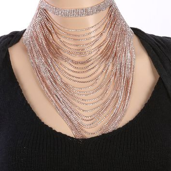 Rose Layered Chain Drape Dramatic Necklace
