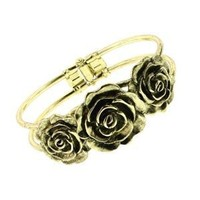 Vintage Brass Rose Cuff Bracelet: Jewelry: Amazon.com