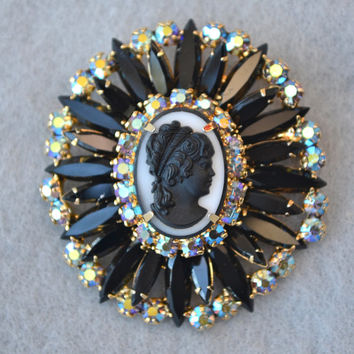 Juliana DeLizza and Elster Black and AB Rhinestone Cameo Brooch or Pendant Vintage