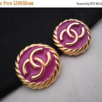 ON SALE Authentic CHANEL Earrings Pink Button Style Couture Designer Signed Jewelry Vintage Statement Accessories Made In Paris France