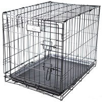 Felji 1 Door Black 24 Pet Folding Suitcase Dog Cat Crate Cage Kennel Pen w/ ABS Tray