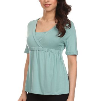 Emma Surplice Neck Draped Nursing Top
