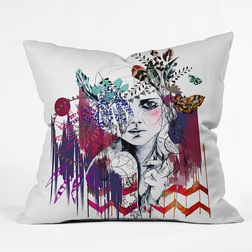 Holly Sharpe Tribal Girl 1 Throw Pillow