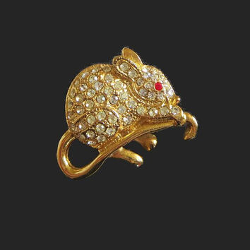 Giovanni Mouse Pin, Vintage Figural, Pave Rhinestones, Gold Plated & Crystal Brooch, Dimensional, Adorable!