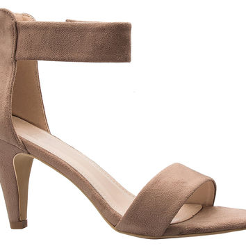 Womens Ankle Strap Open Peep Toe High Heels   Dress Wedding Party Heeled Sandals Dark Taupe 8.5 B(M) US '