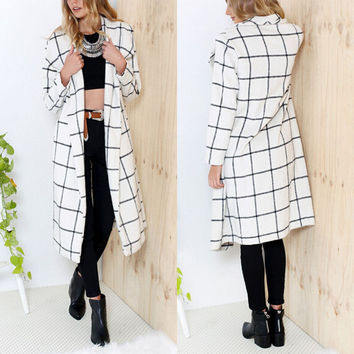 White Printed Long Sleeve Coat