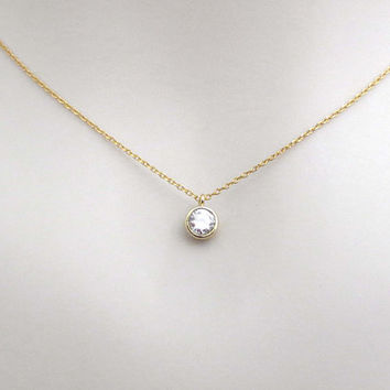 Simple, Round, Cubic, Gold, Silver, Necklace, Lovers, Friends, Mom, Sister, Gift
