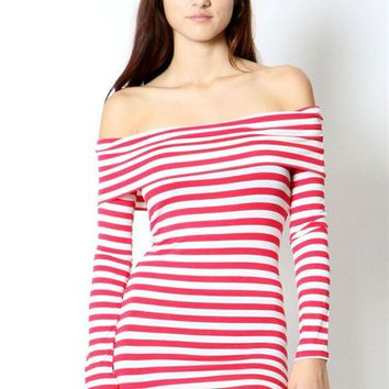 Sexy Striped Off Shoulder Long Sleeve Slim Fit Long Tunic Top
