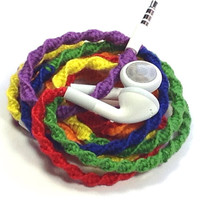 Rainbow MyBuds Wrapped Headphones Tangle Free Earbuds Your Choice of Headphones