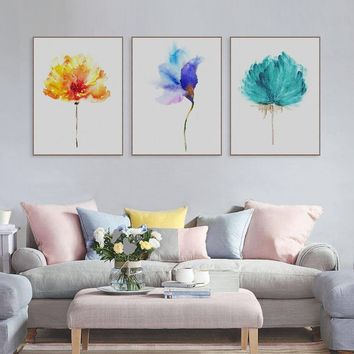 Watercolor Plant Flower Floral Rose Canvas Print Poster Nordic Wall Picture Home Decor Painting No Frame