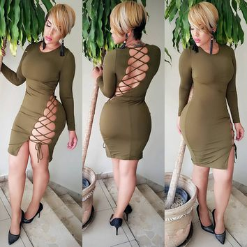 Streetstyle  Casual Army Green Cross Back Hollow-out Open Back Long Sleeve Club Bodycon Mini Dress