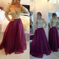 Elegant Prom Dress,Wine Red Evening Dress,Appliques Gold Pearls Long Sleeve Dress