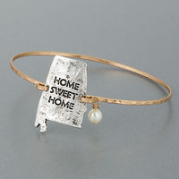 Gold Hammered Silver Home Sweet Home Alabama State Pearl Charm Bangle Bracelet