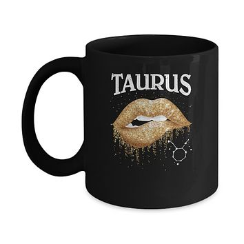 Taurus Zodiac April May Birthday Gift Golden Lipstick Mug